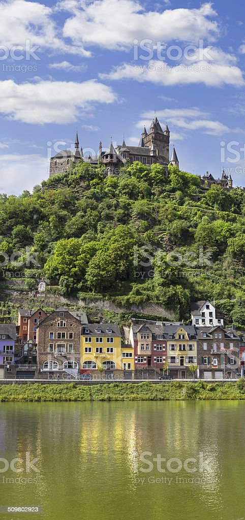 Cochem Reichsburg castle at Mosel valley stock photo