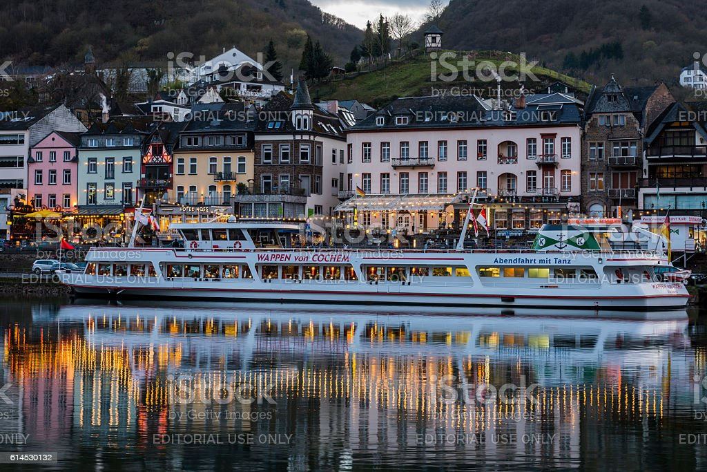 Cochem Ship at Boulevard at the Mossele stock photo