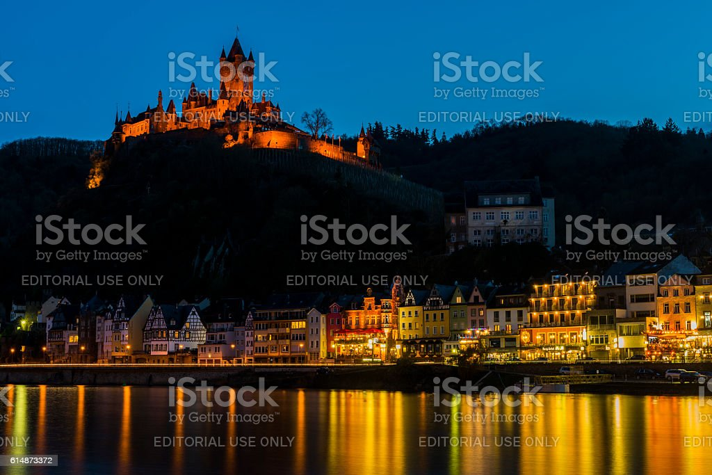 Cochem with Castle at the  Mossele at Night stock photo