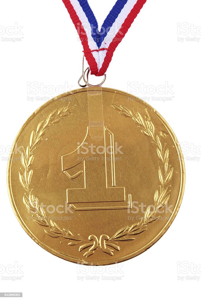 cocholate medal in bronze foil wrapping royalty-free stock photo
