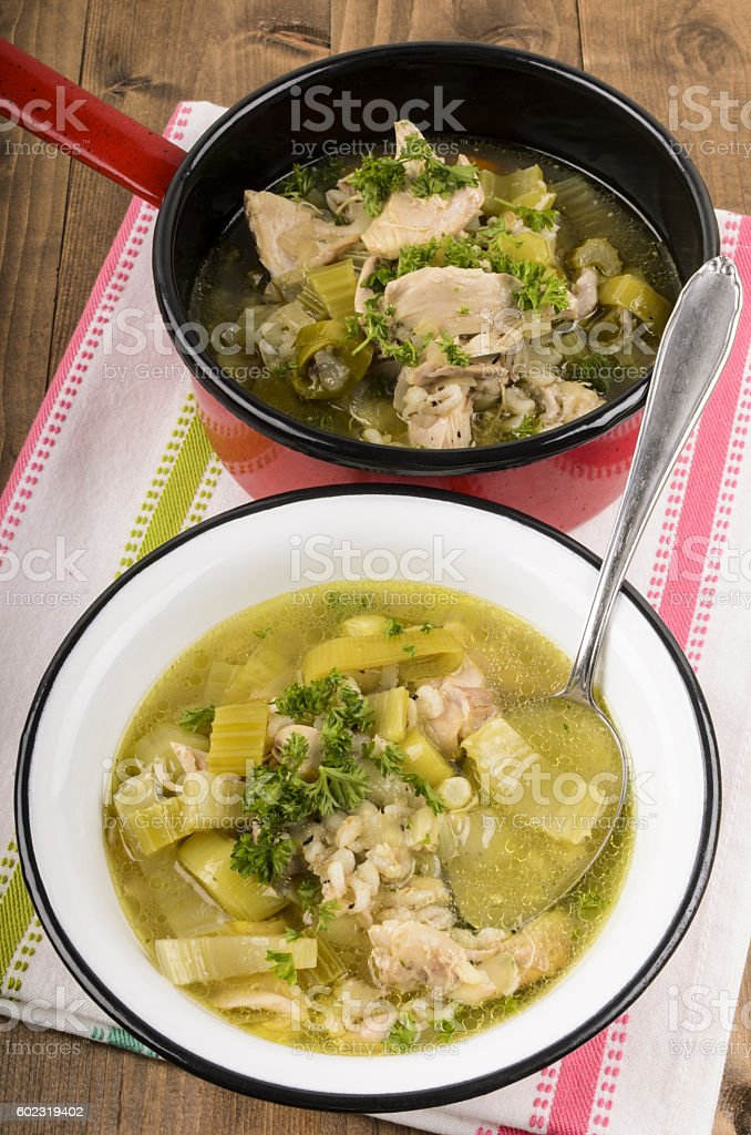 cock a leekie soup typical scotish meal stock photo
