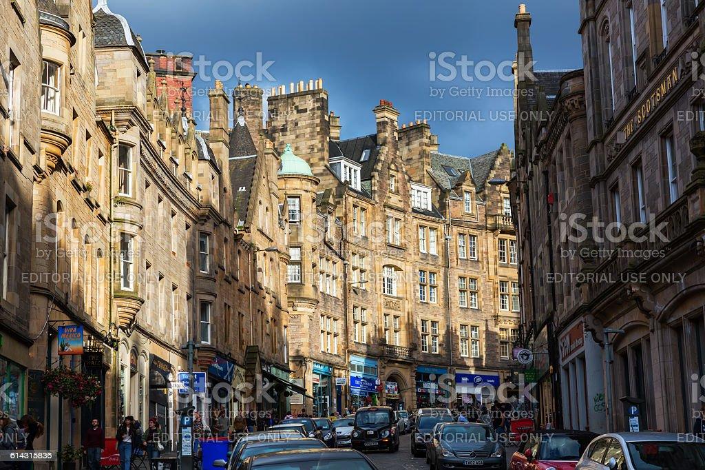 Cockburn Street in Edinburgh, Scotland stock photo