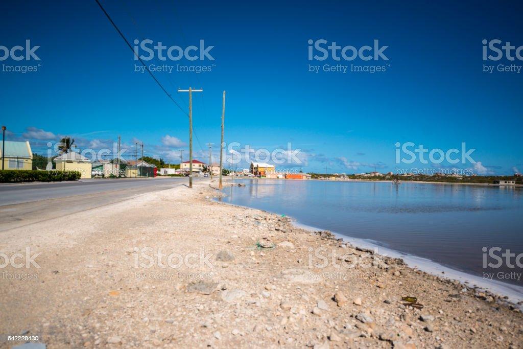 Cockburn Town cityscape, Grand Turk, Turks and Caicos Islands stock photo