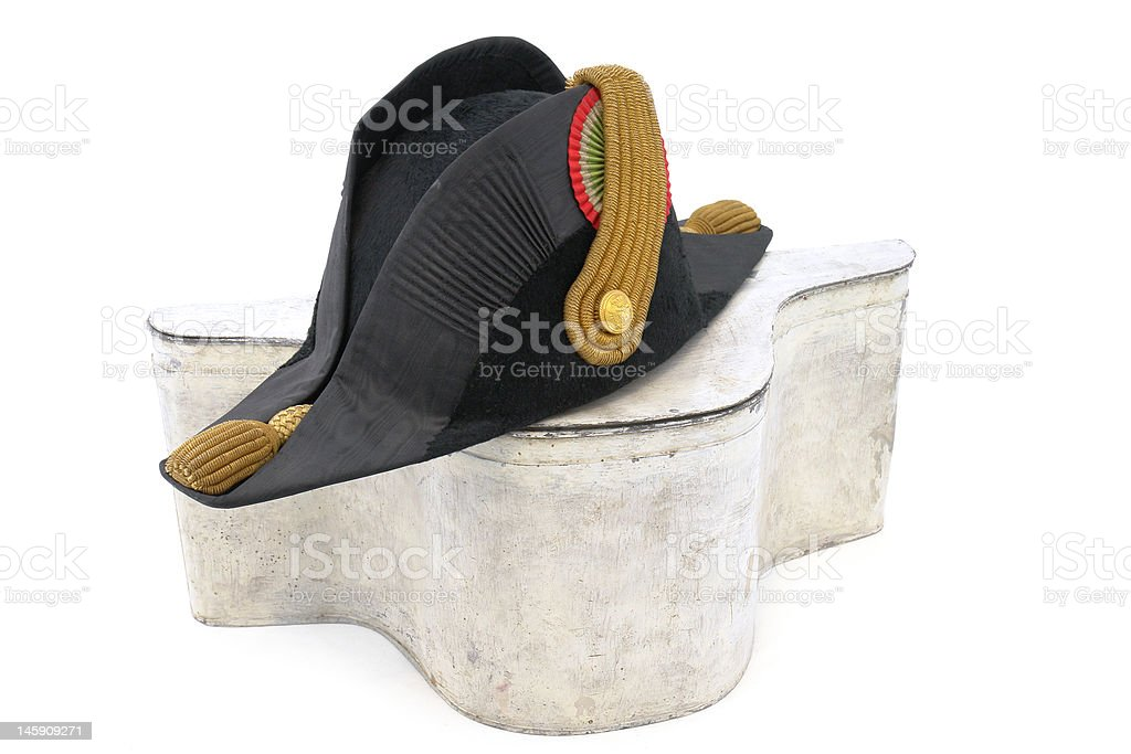 Cocked hat of Italian navy doctor with box stock photo