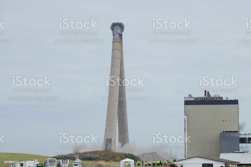 Cockenzie Power Station Chimney's being demolished stock photo