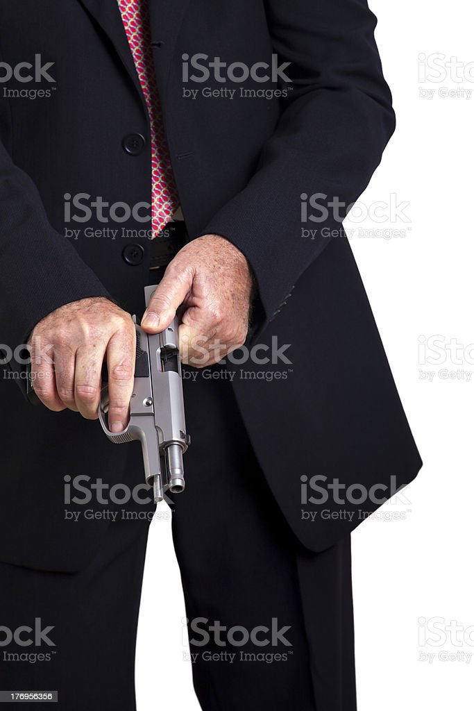 Cocking the Gun royalty-free stock photo