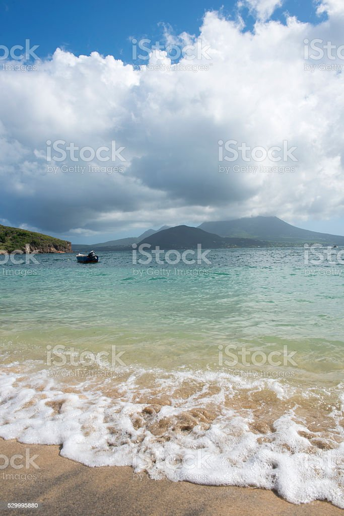 Cockle Shell Beach on St. Kitts stock photo