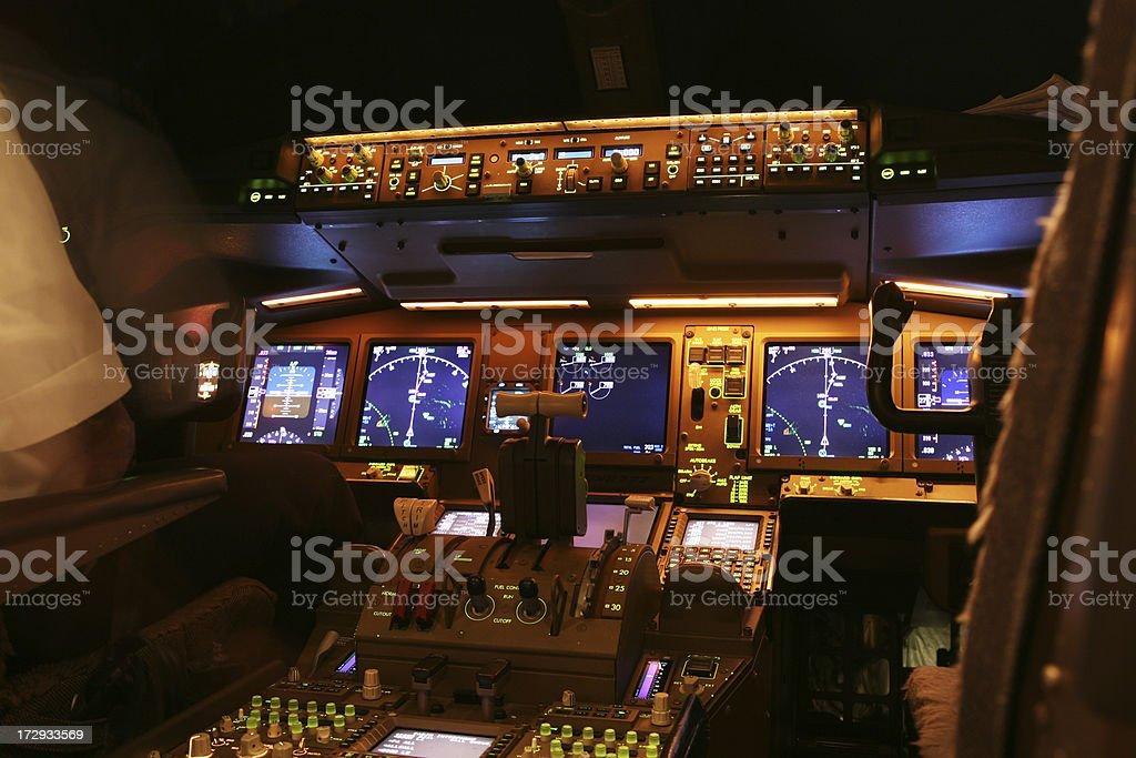 Cockpit at Night stock photo