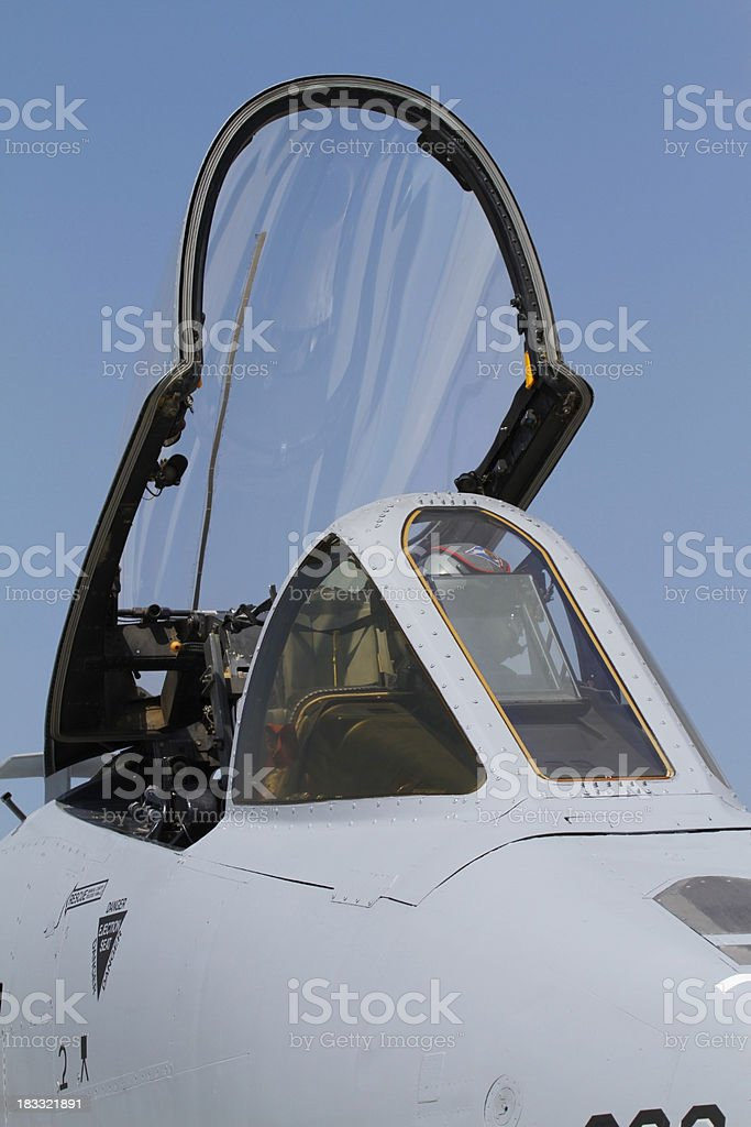 A-10 cockpit close up stock photo