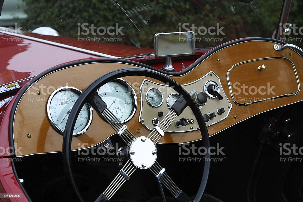 Cockpit detail of an english oldtimer car stock photo