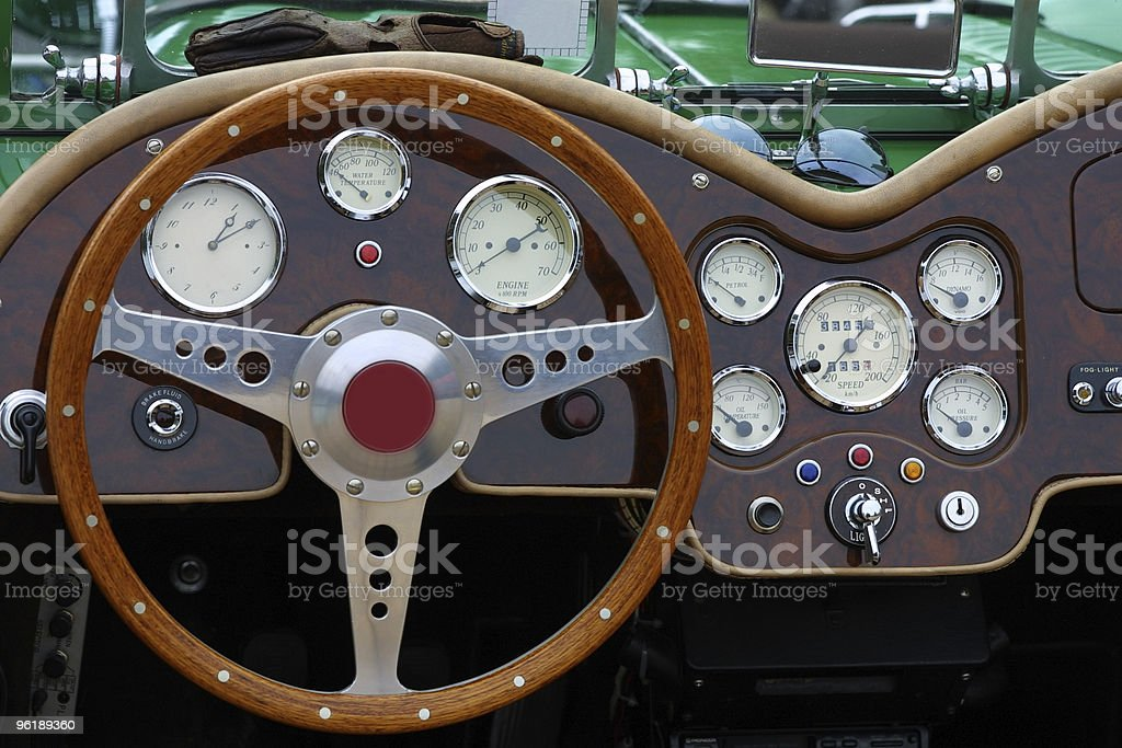 Cockpit detail of an english oldtimer car royalty-free stock photo