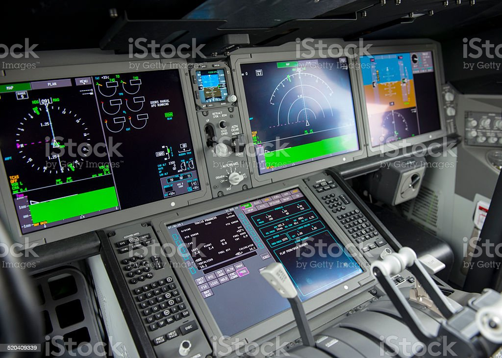 Cockpit display panel stock photo