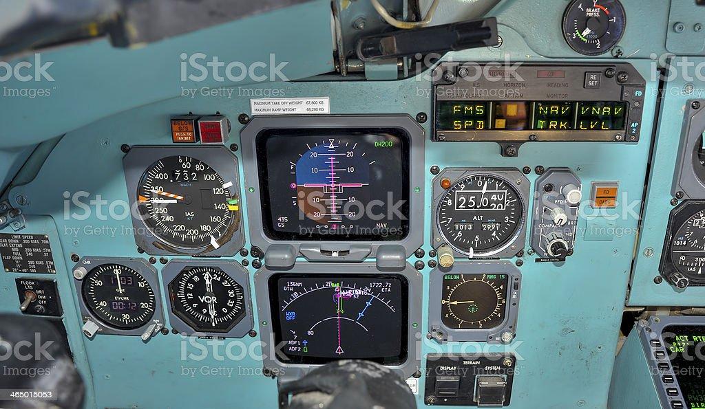 Cockpit in flight royalty-free stock photo