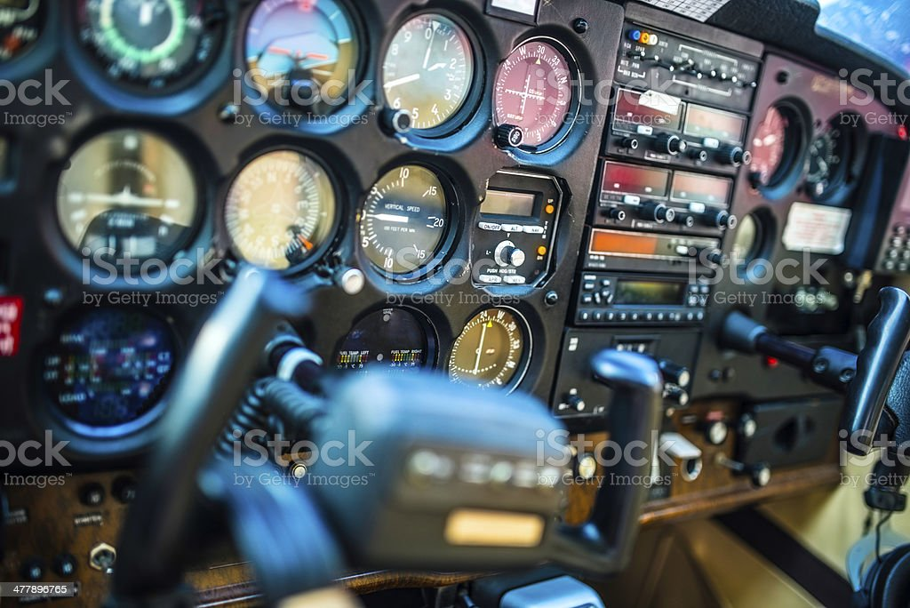 Cockpit Interior of an Airplane stock photo