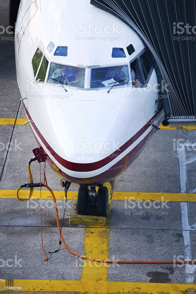 cockpit nose of 737 jet stock photo