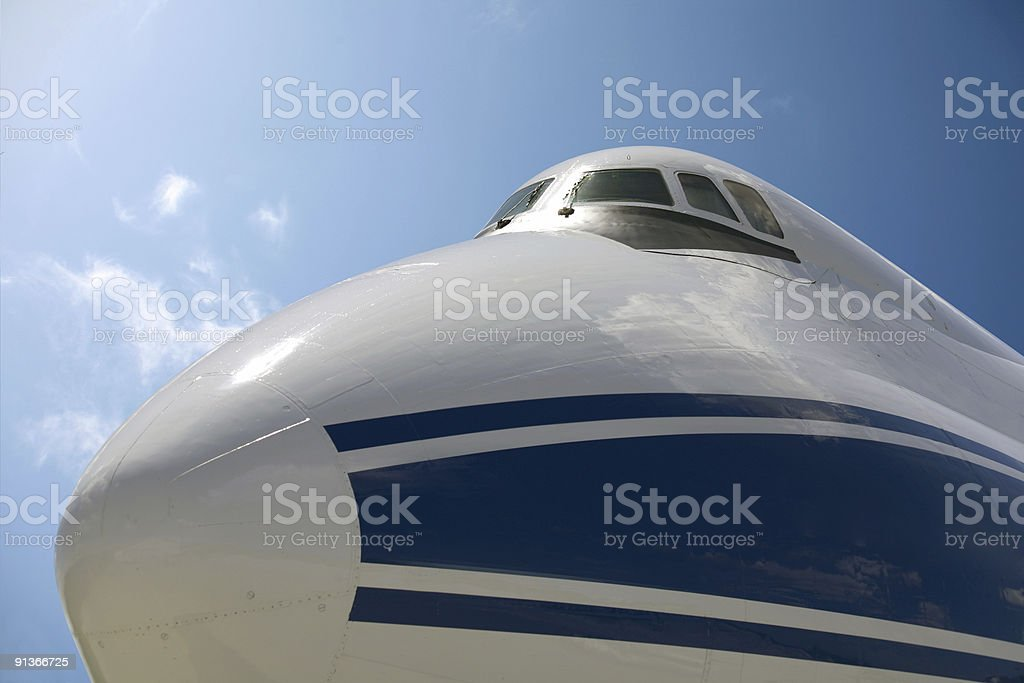cockpit of a cargo airplane stock photo