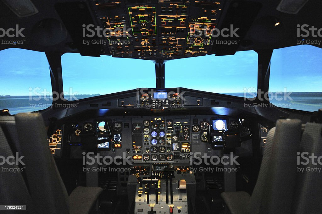 Cockpit of A Flight Simulator stock photo