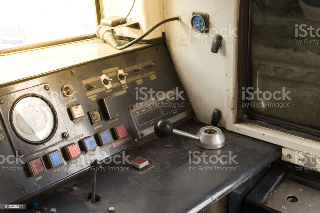 Cockpit of a Public Thai Train Railway with dashboard. This is a public train Does not require a property release. stock photo