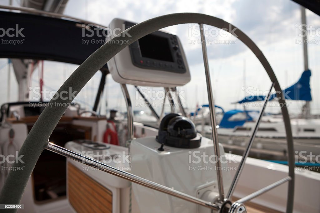 Cockpit of a Sailing Yacht royalty-free stock photo