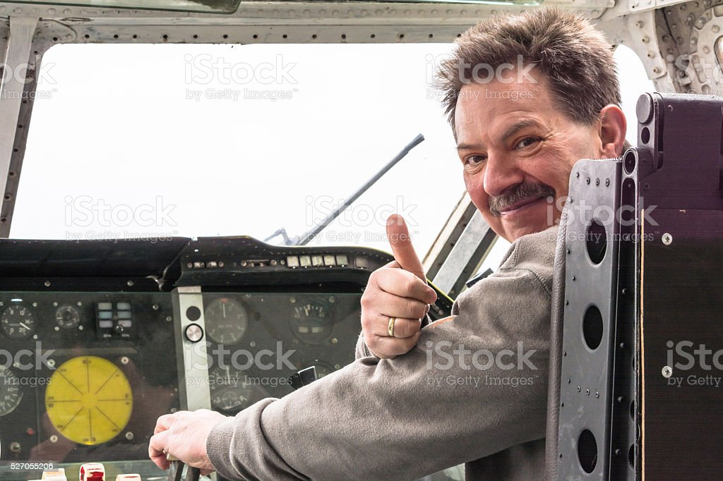 Cockpit of a vintage aircraft stock photo