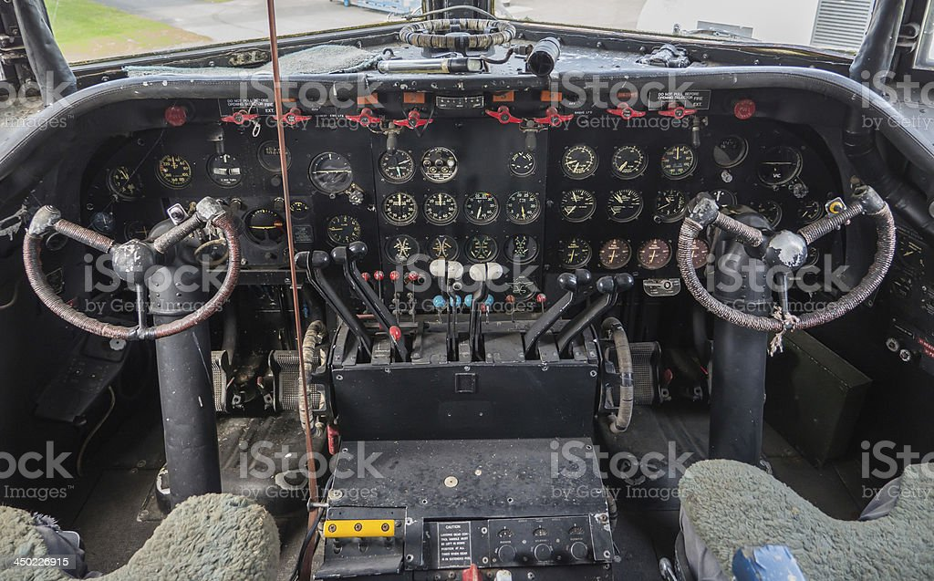Cockpit of a vintage plane royalty-free stock photo