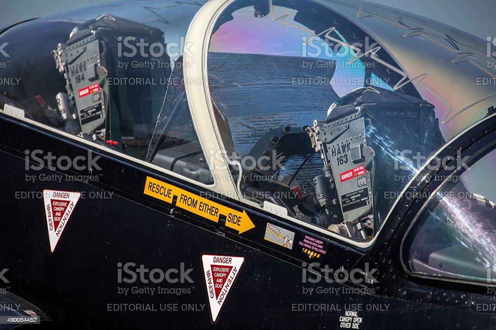 Cockpit of airplane stock photo