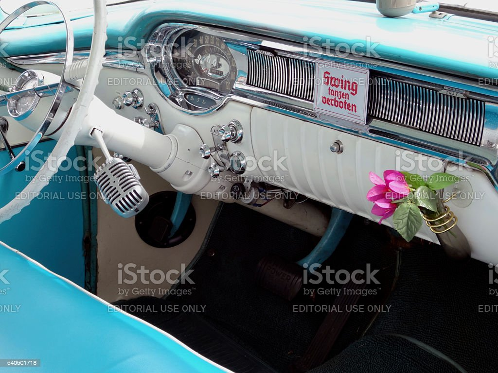 Cockpit of an old Buick stock photo