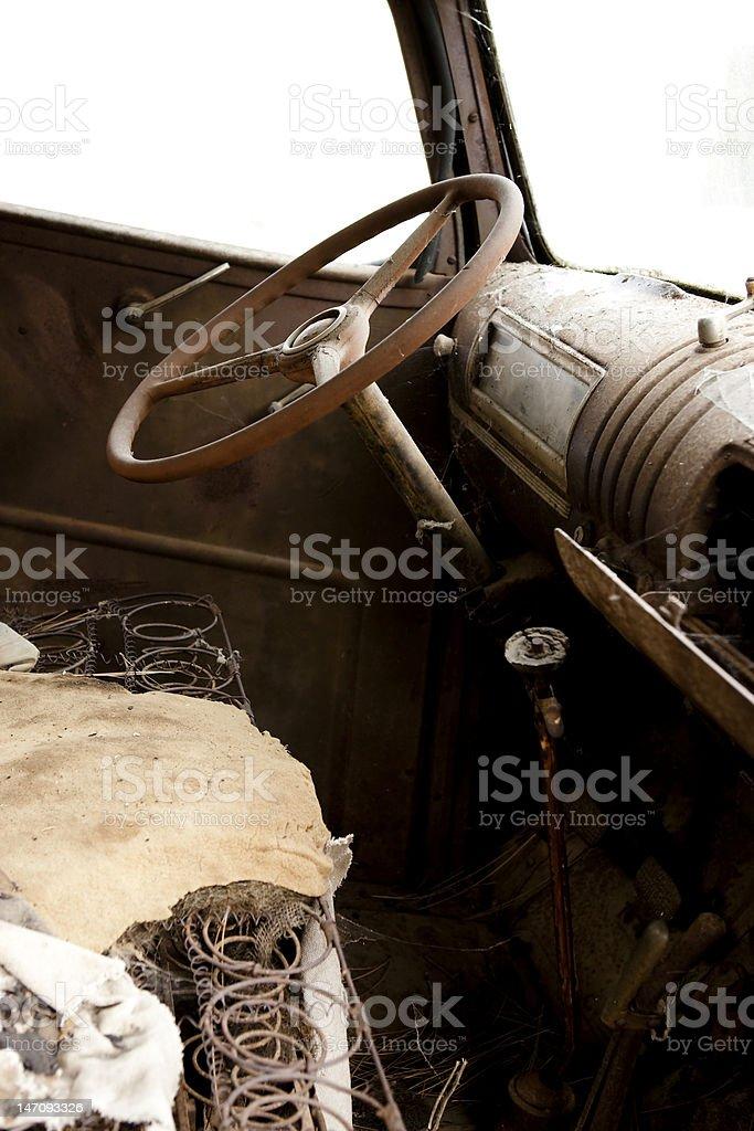 Cockpit of Antique Truck stock photo