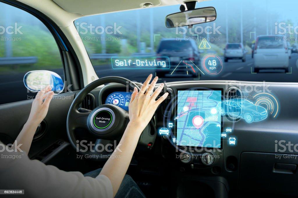 cockpit of autonomous car. self driving vehicle hands free driving. stock photo