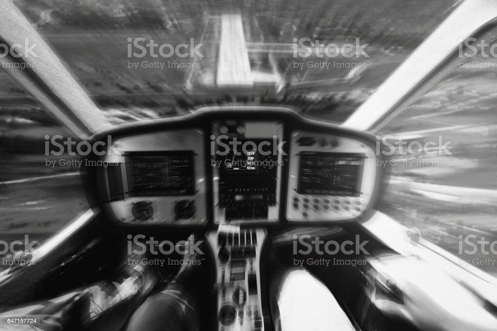 Cockpit of emergency landing airplane Black White stock photo