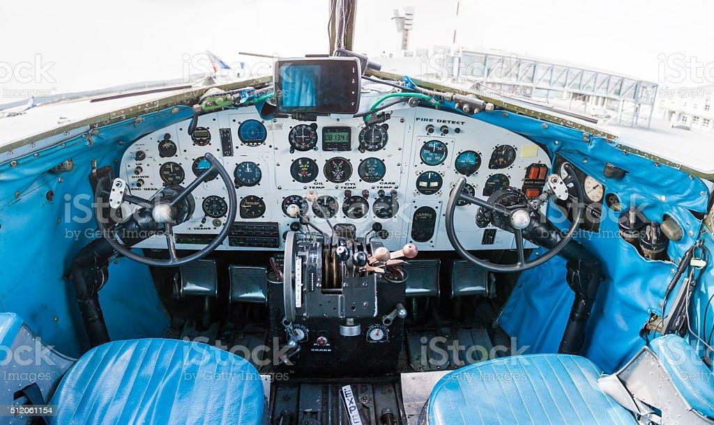 Cockpit of retro plane royalty-free stock photo