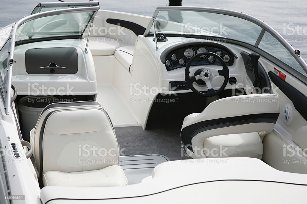 Cockpit of small white speedboat stock photo