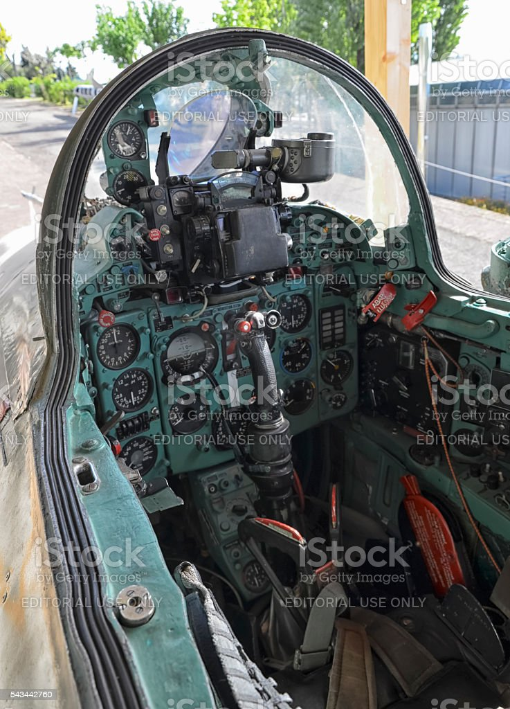 Cockpit of Soviet military fighter stock photo