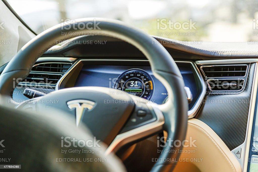Cockpit of Tesla Model S car royalty-free stock photo