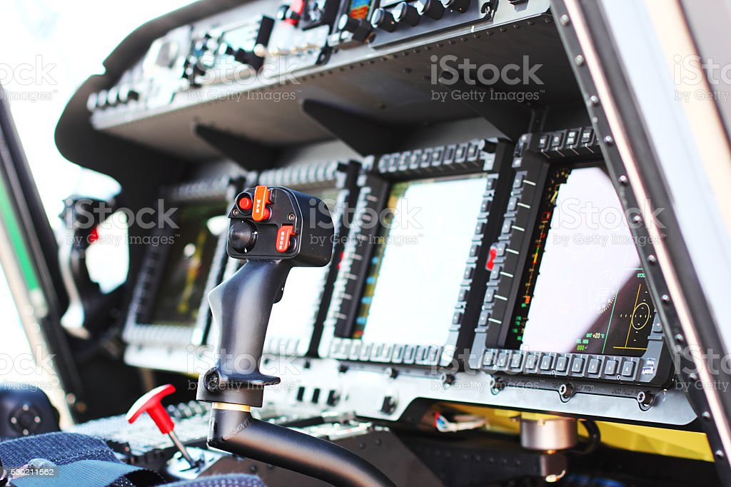 Cockpit of the Military Helicopter Wildcat stock photo