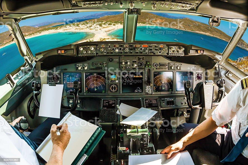 Cockpit on tropical beach stock photo