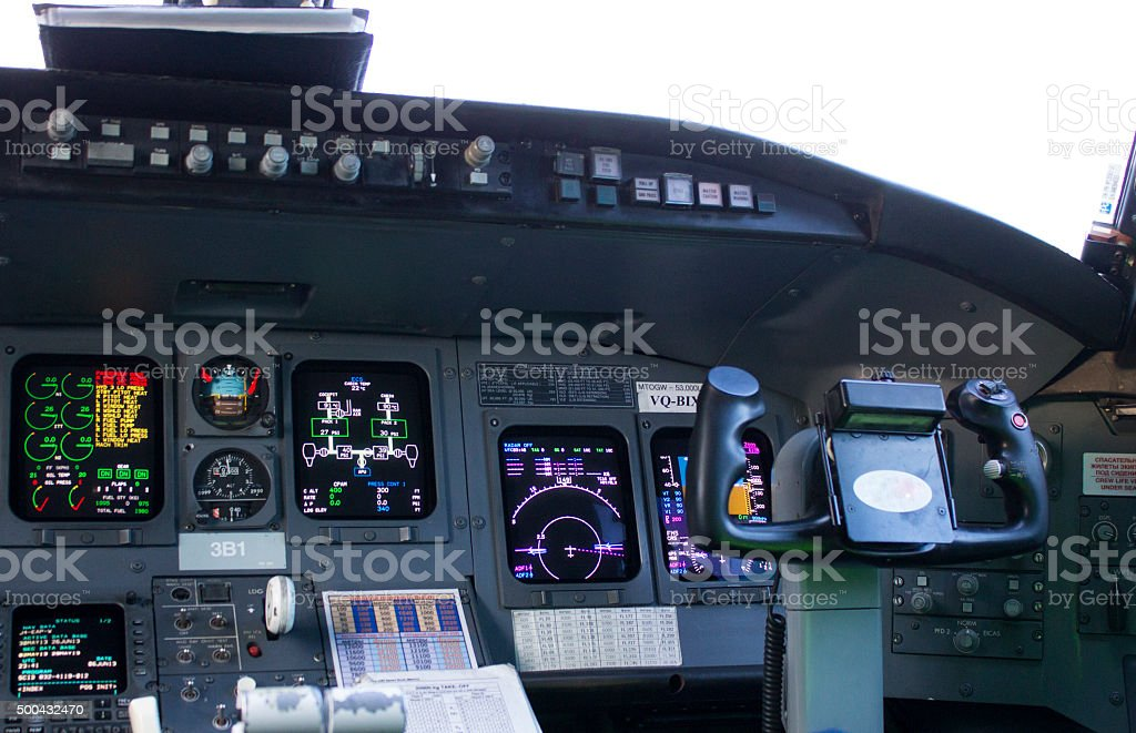 Cockpit passenger plane. The steering wheel control of the aircraft stock photo