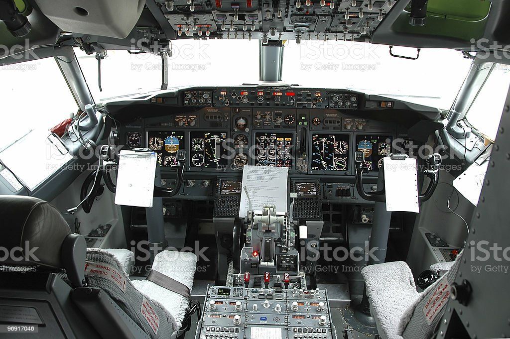 Cockpit view of a commertial airplane royalty-free stock photo