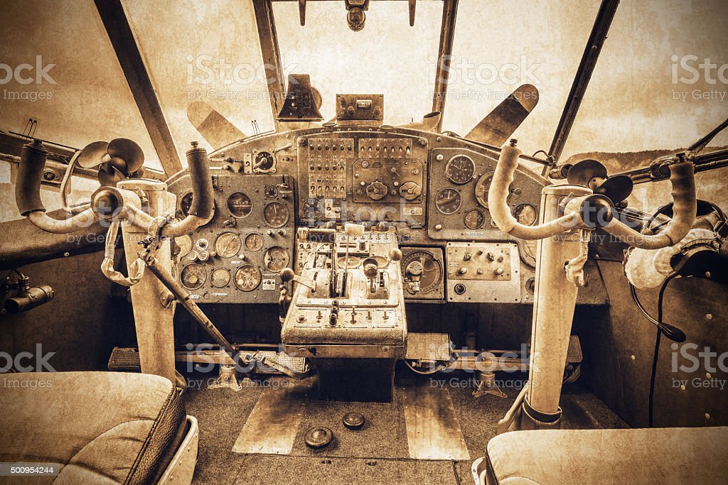 Cockpit view of the old retro plane. stock photo