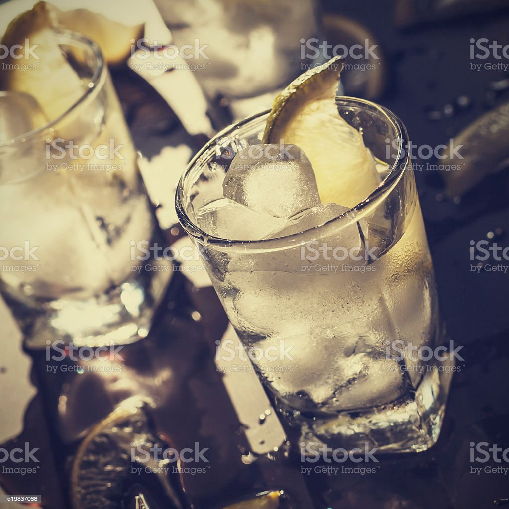 cocktail, alcohol, tequila, gin, vodka, ice, lemon, lime stock photo