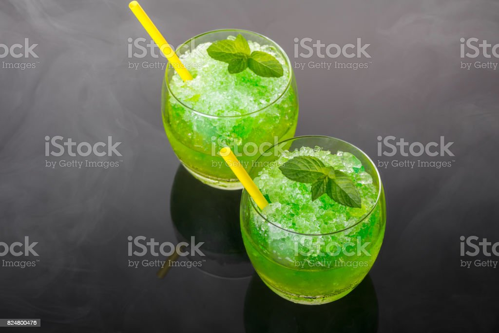 Cocktail alcoholic mojito from ice stock photo