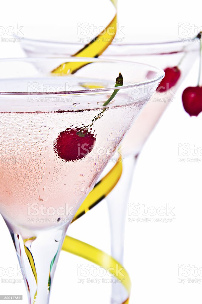 Cocktail and cherry royalty-free stock photo