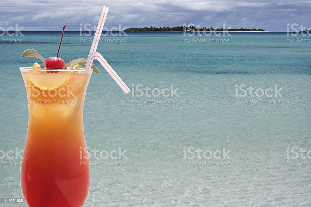 Cocktail and Paradise royalty-free stock photo