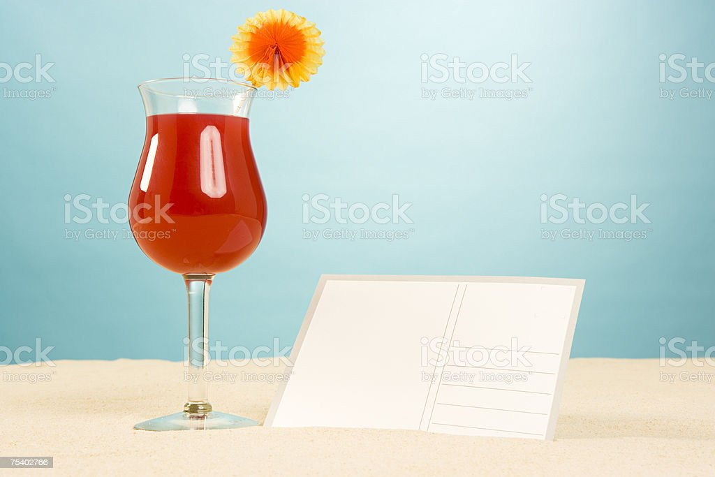 Cocktail and postcard royalty-free stock photo