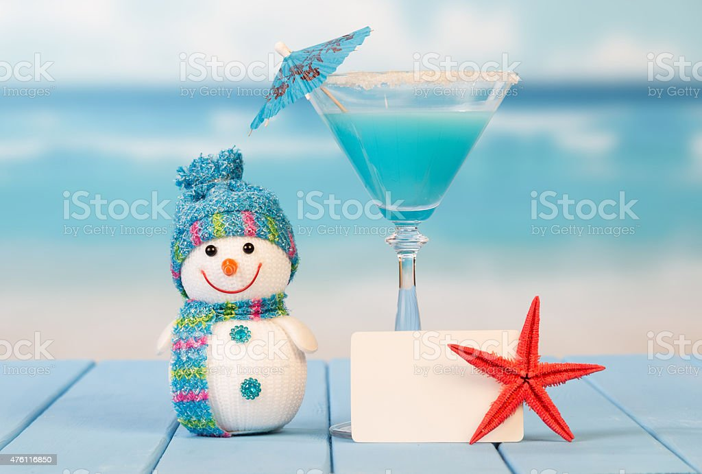 Cocktail, blank card and starfish stock photo
