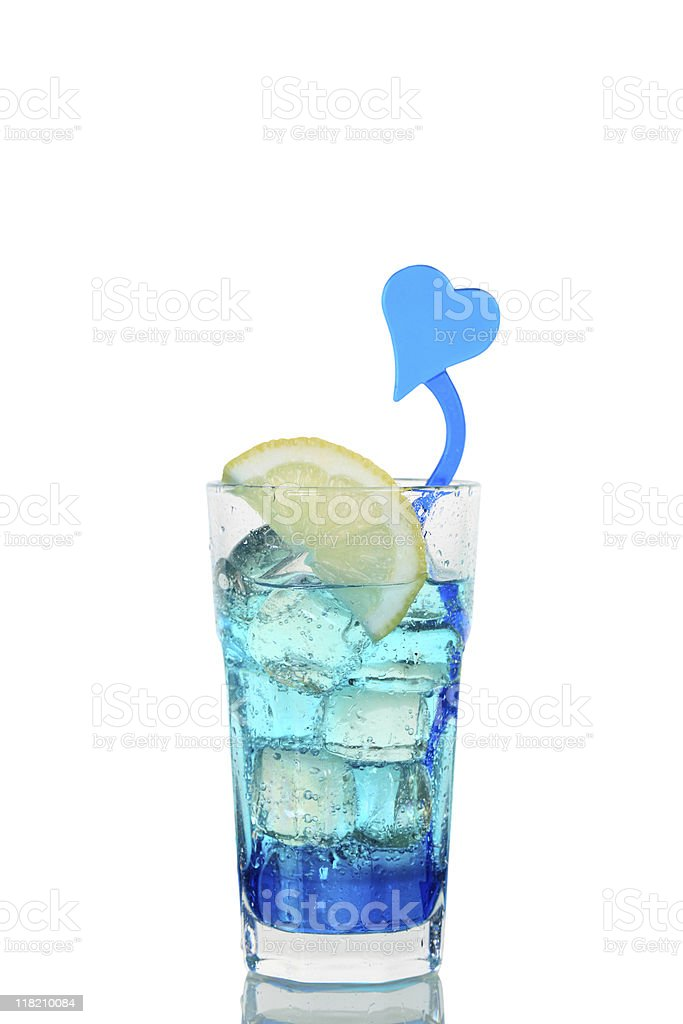 Cocktail Blue Lagoon Lemon Glass Isolated White royalty-free stock photo
