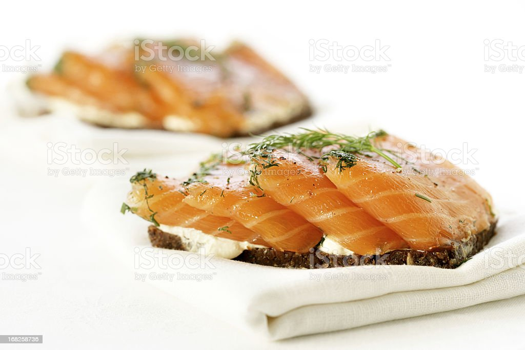 Cocktail canap?s Smoked Salmon on Whole-wheat. stock photo