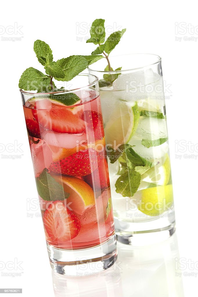 Cocktail collection: Strawberry and classic mojito royalty-free stock photo