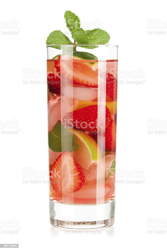 Cocktail collection: Strawberry mojito with lime and mint stock photo