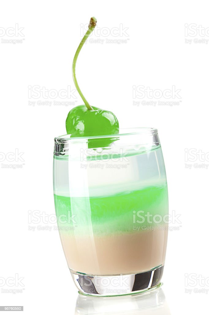 Cocktail collection: Three layered shot with green maraschino royalty-free stock photo